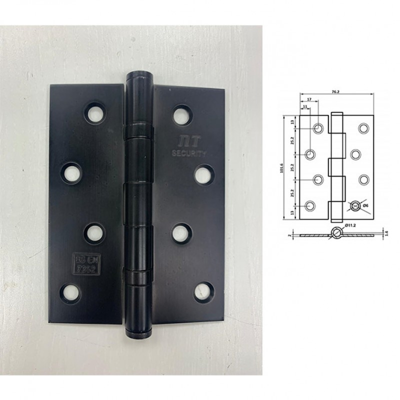 NT 102x76x2mm SS 2BB Butt Hinge (SBN)
