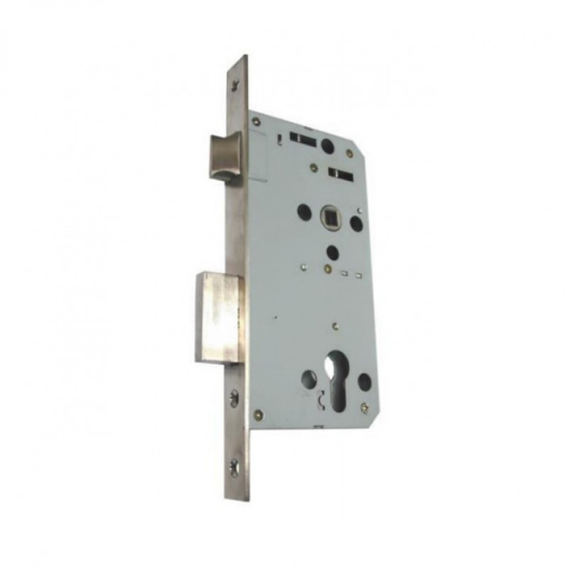 NT 7630 Mortise Sash Lock c/w Strike Plate and Dust Box; satin stainless steel